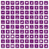 100 organ icons set grunge purple. 100 organ icons set in grunge style purple color isolated on white background vector illustration Royalty Free Stock Photos