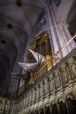 Organ.inside domkyrkan av toledo som befläckas Royaltyfria Foton