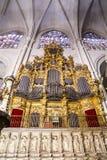 Organ.inside domkyrkan av toledo som befläckas Fotografering för Bildbyråer