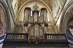 Organ instrument of gothic church Stock Photos