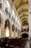 Organ in interior of Almudena Cathedral Stock Photo