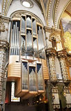 Organ in the interior of Basilica, Montserrat, Spain royalty free stock images