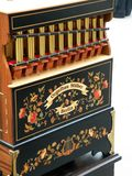 Organ Made in Berlin. Musical instrument, an organ built by Orgelbau Stüber, is a copy of the Harmonipan organ built by Bacigalupo and Frati in the 19th royalty free stock image