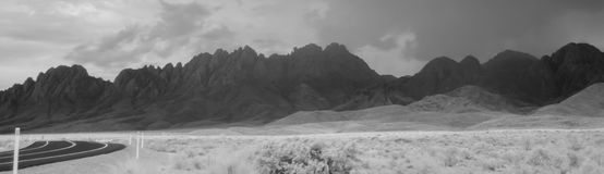 Organ Mountains, NM in IR. Infrared view of the Organ Mountains, NM on a stormy afternoon Royalty Free Stock Images