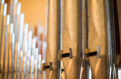 Organ musical instrument metal pipes large Royalty Free Stock Photo