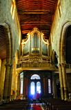 Organ of Our Lady of Oliveira church in Guimaraes. Portugal stock images