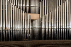 Organ pipe detail. Close up of the pipes of a great organ Royalty Free Stock Photos