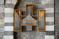 Organ Pipe framed by beautiful arches striped white marble Royalty Free Stock Photos