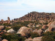 Organ Pipe Rock Formations, Mount Wellington. Organ pipe dolerite rock formations, Mount Wellington, Tasmania, Australia, colors enhanced by hazy light from Stock Images