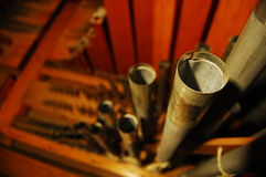 Organ Pipes. Pipes on an organ at a church Stock Photo
