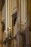 Organ pipes. Clustered organ pipes on refurbished organ stock photo