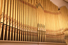 Organ Pipes. Image of a row of old organ pipes in a historic tabernacle or church Royalty Free Stock Photography