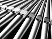 Organ Pipes. Traditional organ pipes - close up Stock Photo