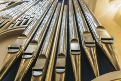 Organ pipes in church. Close up stock images