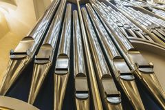 Organ pipes in church. Close up royalty free stock photography