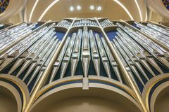 Organ pipes in church. Close up royalty free stock image