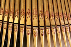 Organ Pipes Close-up. Close up image of the organ pipes in a historic chruch Royalty Free Stock Images