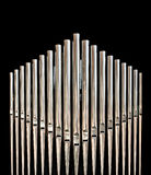 Organ pipes. Closeup pipes from a church organ Royalty Free Stock Photos