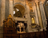 The  organ pipes and D. Maria I tomb in Estrela basilica in Lisbon, Portugal Stock Image