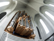 Organ pipes in Hallgrimskirkja Stock Images