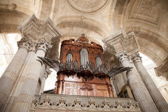 Organ pipes. Of the historical cathedral building of Cadiz (Spain royalty free stock images