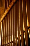 Organ pipes A. Photograph of church organ pipes royalty free stock image