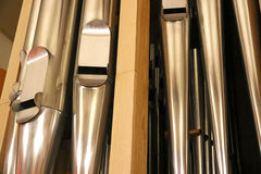 Organ pipes. Organ showing several pipes in different places Stock Photos