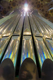 Organ pipes. Silver organ pipes in a  curch Stock Image