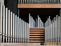 Organ. Row of organ pipes at Coventry cathedral, England, UK Royalty Free Stock Images
