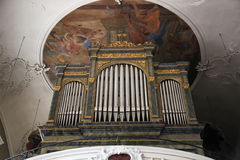 Organ, Sanctuary of St. Agatha in Schmerlenbach Stock Image