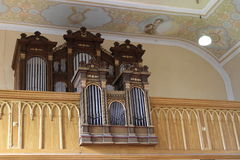Organ in St. Giles. Organ with pipes in baroque roman catholic St. Giles Church in Mirotice, Czech Republic Royalty Free Stock Photo