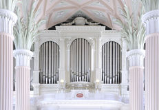 Organ of St. Nicholas church in Leipzig. The church organ was build in romantic style; the church interior was reconstructed in 18th century in aclassicistic Royalty Free Stock Photo