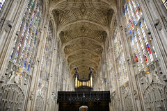 Organ and Vault Ceiling in Kings College Chapel Royalty Free Stock Photos