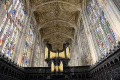 Organ and Vault Ceiling in Kings College Chapel Stock Photos