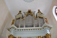 Organ in verstärkt, Sachse, mittelalterliche Kirche im Dorf Viscri, Siebenbürgen Stockfotografie