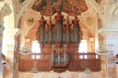 Organe de l'église d'Ebersmunster, Alsace photographie stock libre de droits