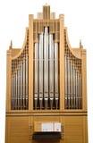 Organe de tuyau en bois d'église d'isolement photographie stock