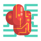 Organe interne de coeur électronique d'Android, une partie de série robotique et informatique futuriste de la Science d'icônes de illustration libre de droits