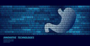Organi interni di digestione sana dello stomaco Flusso di dati di codice binario Vettore innovatore online di tecnologia di medic royalty illustrazione gratis