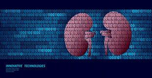 Organi interni di urologia sana dei reni Flusso di dati di codice binario Illustrazione innovatrice online di vettore di tecnolog illustrazione vettoriale