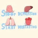 Organi interni svegli che meditano e che lottano con la depressione Fotografia Stock Libera da Diritti