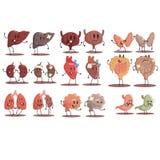 Organi interni umani sani contro l'insieme non sano delle paia divertenti anatomiche mediche del personaggio dei cartoni animati  Immagini Stock