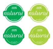 Natural product 100% Illustration of natural label / sticker on white background stock illustration
