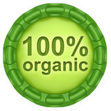 100% organic. Abstract green label isolated on white background royalty free illustration