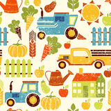 Organic agriculture vector grunge seamless background Stock Photos