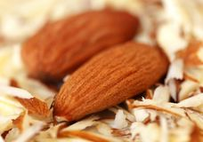 Organic almonds. Organic almond with grated ones Royalty Free Stock Image