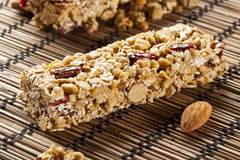 Organic Almond and Raisin Granola Bar Royalty Free Stock Images