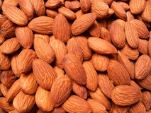 Organic almonds from above. Group of healthy almonds from above Royalty Free Stock Photos