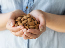Organic Almonds. The hands of a woman holding whole almonds Stock Images