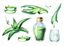 Organic aloe vera extract set. Watercolor hand drawn illustration. Organic aloe vera extract set. Watercolor hand drawn illustration Stock Photo